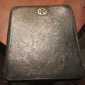Tory Burch Black metallic Ipad case